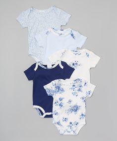 Look what I found on #zulily! Navy, Sky & White Floral Bodysuit Set - Infant by Laura Ashley Baby #zulilyfinds