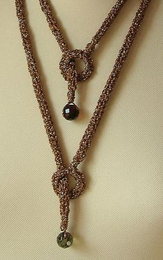 knitted crochet  lariat necklace