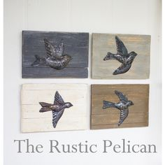 Rustic Wall Art, Set of 4 Hammered Birds, Reclaimed Wood, Rustic Wall... ($119) ❤ liked on Polyvore featuring home, home decor, wall art, birds, rusticpelican, brown, etsy, lake home decor, bird home decor and reclaimed wood wall art