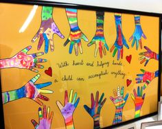 Trace hands in Sharpie onto watercolor paper.  Let each child decorate their own hand and glue onto a matte board and then frame.
