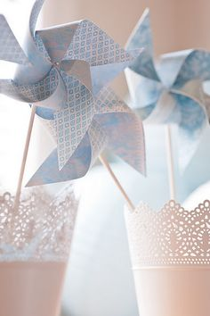 Scrapbook paper Blue Pin Wheels | see the full party at www.lifeandbaby.com