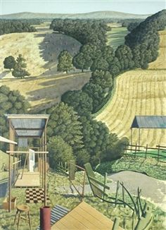 Simon Palmer - Striking Out Independently; Creation Date: Medium: ink, watercolour and gouache; Dimensions: 92 X 68 cm. Landscape Drawings, Landscape Art, Landscape Paintings, Landscape Sketch, Uk Landscapes, Beautiful Landscapes, Android Art, New England Fall, Field Of Dreams