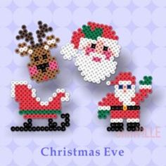 Perler Beads ~ Hama Beads, Fuse Beads ~ Create Just About… Christmas designs, birds, pac man ghost, etc. Hama Beads Design, Diy Perler Beads, Hama Beads Patterns, Perler Bead Art, Beading Patterns, Christmas Perler Beads, Art Perle, Motifs Perler, Peler Beads