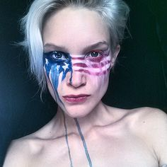 These Colors Don't Run  Amazing American Flag Makeup  By Bre Lembitz Red White and Blue Tears.