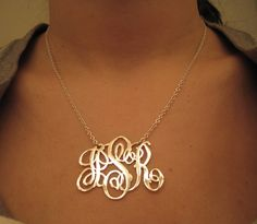 Cut out monogram necklace with split chain. I love this so very much and dream of it in sterling silver. One day...