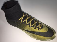 SR4U Gold Metallic Reflective Soccer Laces on Nike Mercurial Superfly 4 CR7  Nike Soccer Shoes e904c30fe