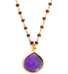 Sacred Jewels Amethyst & Garnet Beaded Necklace