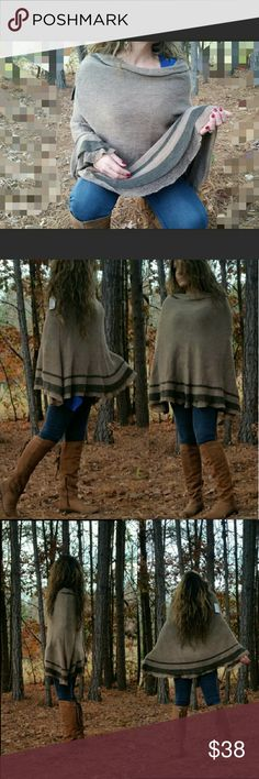 Beige Soft Knit Poncho Beautiful comfy and & deliciously cozy soft! Beige 100% Viscose knit Poncho. This over the head classic style poncho never loses its style and is always trending no matter what place or time! Features include cable knit neck and hemline. Who says 'TRENDY' can't be 'COMFY'?! Need a different color?...see below for more colors available in my closet.       **GREAT HOLIDAY GIFT IDEA** Comes in: *Beige* Red Gray Teal  Blue  Black  Purple  *** Bundle 2 or more Ponchos and…