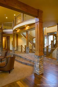 House Plans - Home Plan Details : Luxury Living.I like that you step down into the living room - Luxury Living For You Deco Design, Staircase Design, House Goals, My New Room, Log Homes, Barn Homes, Luxury Living, My Dream Home, Dream Homes
