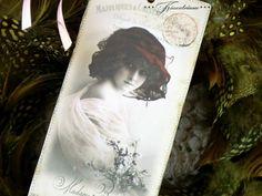 Papier & Pappe -  Lesezeichen -fille au chapeau- - ein Designerstück von WhiteRoses bei DaWanda