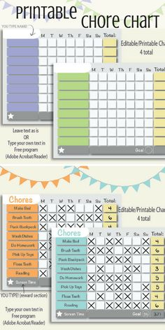 Very handy printable and editable chore chart. Great for having a chore schedule and reward system for kids (or students/ roommates) #chorechart #ad #printable #kids