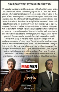"""This kind of makes me want to watch Mad Men... Regarding the last line, for Firefly, Hendricks was Mal's 'wife' Saffron in """"Our Mrs Reynolds"""" and """"Trash."""""""