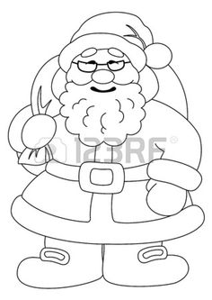 14738369-christmas-cartoon-santa-claus-with-a-bag-of-gifts-black-contour-on-white-background-vector-illustrat.jpg (318×450)