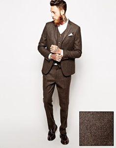 ASOS – Eng geschnittener Anzug mit Fischgrätenmuster in Braun
