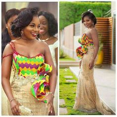 We Fell Yakata For These Amazing Ankara Styles – A Million Styles African Wedding Hairstyles, African Wedding Attire, African Attire, Ghana Traditional Wedding, African Traditional Wedding Dress, African Dresses For Kids, African Wear Dresses, Bride Reception Dresses, Kente Dress