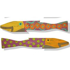 Suzanne Nicoll-Picket Fence Fish By Suzanne Nicoll-Pair of Two Hand Painted Fish In Caribbean Colors By Artist Suzanne Nicoll
