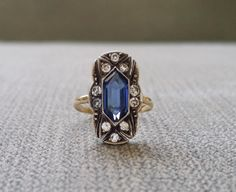 Antique Engagement Ring Two Toned Silver and Gold Cubic Zirconia and Blue Sapphire Edwardian Vintage Art…