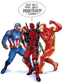 Captain America vs Iron Man Civil War... with Deadpool...think about Martha
