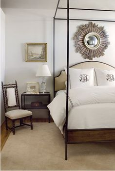upholstered four poster bed