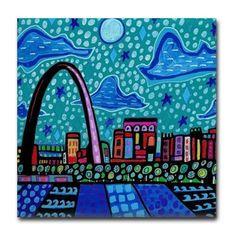 50% Off St. Louis Skyline Art Tile Ceramic by HeatherGallerArt