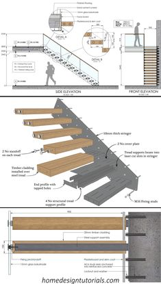 Staircases are a lot of fun. That is, even though the design process is strictly regulated by the building code, it can be the perfect opportunity to flex your creative muscles. But how exactly do you design a cantilevered staircase? How do the stairs stay in place? And what do you need to take into consideration during the design phase? #design #construction #architecture #floating #stairs #staircase #fixing #detail #cantilevered #drawing Stairs Architecture, Architecture Details, Interior Architecture, Creative Architecture, Home Stairs Design, Interior Stairs, Stair Design, Building Stairs, Building Code