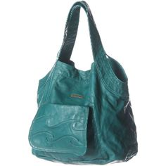 i love this blue-green leather bag!