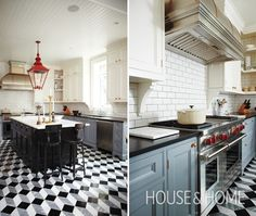 Stunning floor, two-tone cabinets   House and Home