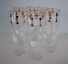 Vintage Libbey set of 6 glasses