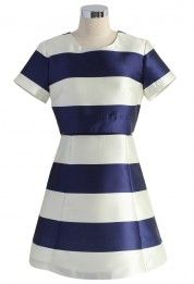 Contrast Stripes Cutout Dress in Blue