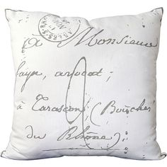 Surya French Script Pillow (£26) ❤ liked on Polyvore featuring home, home decor, throw pillows, pillows, decor, accessories, filler, white home decor, french home decor and french home accessories