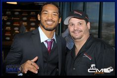Tilt-A-Rack owner Andrew Miro with the champ Benson Henderson and main event at UFC 150 in Denver Aug 11
