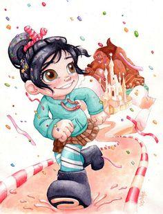 Vanellope von Schweetz I Wreck it Ralph Disney Pixar, New Disney Movies, Disney Wiki, Pixar Movies, Disney Fan Art, Vanellope Y Ralph, Vanellope Von Schweetz, Disney Princesses And Princes, Pirate Art