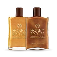 Honey Bronze Shimmering Dry Oil - Get a sun-kissed glow from head-to-toe with the Honey Bronze Shimmering Dry Oil. Give your skin an even, bronzed look with a hint of shimmer with this lightweight body oil subtly scented with honey and monoi. For a golden glow, use the Honey Gold shade for lustrous radiance. For darker color, use the Honey Kissed shade which can be intensified by layering.