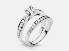 Julianne style diamond engagement ring set with 0.34 carats of side diamonds in white gold.