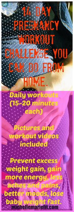 Im totally doing this Pregnancy Workout Challenge. This is my motivation to start exercising during pregnancy. Pictures and workout videos included. Workouts can be done from home and they are short. I don't want to gain a lot of weight this pregnancy.  http://michellemariefit.com/pregnancy-workout-challenge-14-day-jumpstart/