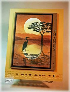 Theresa Momber: Crafting The Web: Wild Heron Sunset Tutorial - 4/9/12.  (Sponging/ masking/ stamping tutorial).