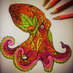 Very special #tropical #octopus  #coloring #animal #crayons