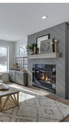 modern fireplace ideas Gorgeous Modern Farmhouse Fireplace Ideas You Should Copy Now 08 room decor ideas with fireplace 46 Gorgeous Modern Farmhouse Fireplace Ideas You S Shiplap Fireplace, Farmhouse Fireplace, Home Fireplace, Fireplace Remodel, Living Room With Fireplace, Fireplace Surrounds, Fireplace Design, Fireplace Mantels, Home Living Room