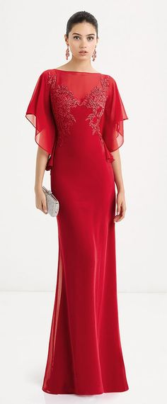 Unique Chiffon Bateau Neckline Sheath / Column Evening Dresses With Lace Appliques & Hot-fix Rhinestones