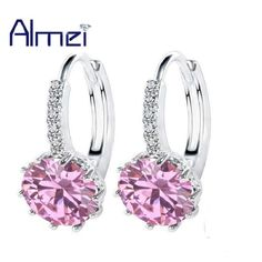 Hoop Earrings,Cubic Zirconia Stones,Platinum Plated,7 color choices