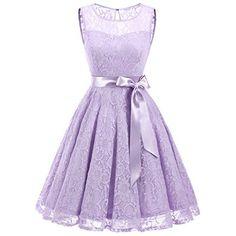 IVNIS RS90026 Damen Vintage Floral Kleider Brautjungfernkleider  Spitzenkleid Ärmellos Fliege Partykleid Lavender 2XL a273f3e7aa