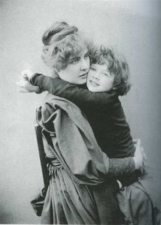 Oscar Wilde's wife Constance and their son Cyril, 1889. (Scanned from The Complete Works of Oscar Wilde.)