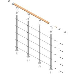 DOLLE Rome Gray Prefinished Balcony Rail Kit at Lowe's. The Dolle Rome landing banister starter kit is an ideal solution designed to be used in conjunction with the Dolle Rome modular staircase kit to provide a Cable Stair Railing, Stair Railing Kits, Stair Kits, Interior Stair Railing, Balcony Railing, Railing Ideas, Interior Balcony, Loft Railing, Diy Stair