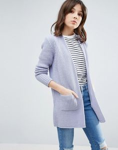 Buy Navy Asos Knit cardigan for woman at best price. Compare Cardigans prices from online stores like Asos - Wossel Global Jumpers For Women, Cardigans For Women, Women's Cardigans, Chunky Knit Cardigan, Blue Cardigan, Pastel Outfit, Dress Codes, Blue Tops, Fashion Online