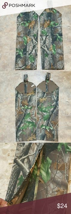 "Realtree Whitewater Outdoors Chaps Size Regular Realtree Whitewater Outdoors Chaps  Regular.  For the most protection of your legs in the great outdoors.   These chaps are new. Regular size means they fit a 25"" thigh, inseam 29""-32"".  Feel free to ask any questions before purchasing.   Thanks for shopping my closet! Realtree Whitewater Outdoors  Other"