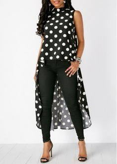 Limsea Womens Black High Low Chiffon Blouse Fashion Casual Sleeveless Polka Dot Tops >>> To view further for this item, visit the image link. (This is an affiliate link) Modest Dresses, Trendy Dresses, Look Fashion, Fashion Outfits, Womens Fashion, Mein Style, Trends 2018, African Fashion, Blouses For Women