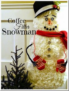 Coffee Filter Snowman - If you like Coffee Filter projects, you'll love this one. I had a blast making this little guy. The entire project is made from Dollar…