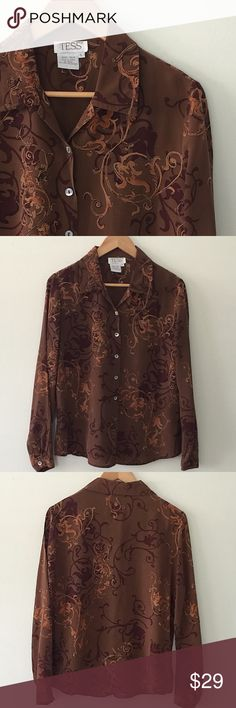 Vintage Tess Gorgeous vintage 80s / 90s button down blouse by Tess. 100% Silk. Beautiful autumn 🍂 print in browns, rusts and golds. Great for office... looks amazing under a winter white suit 😉 or with jeans for everyday. Vintage Large Tess Tops Blouses