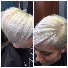 Platinum blonde using Keune Magic Blonde, Semi Color, and Pravana Silver