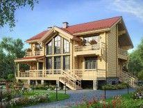 Проект дома из клееного бруса с цокольным этажом - Проект M117Z - деревянный трехэтажный дом